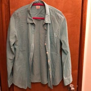 JCrew green and white, ladies button-down shirt.